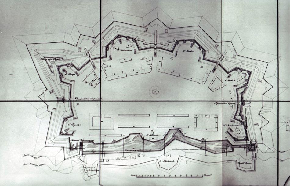 План Тираспольской крепости на карте 1856 года